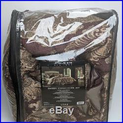 J Queen Amethyst Queen 4 Piece Elegant Comforter Set Purple Gold Taupe Damask