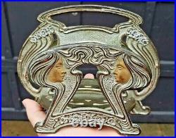 Judd Art Nouveau Goddess Maidens Cast Iron Desk Set #6604 Letter Holder Rack