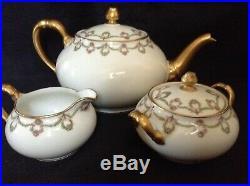 LIMOGES DEPOSE FRANCE C. AHRENFELDT LIMOGES 5 pc TEA SET PINK ROSES & VINE SWAG
