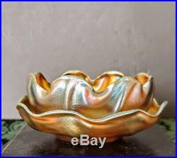 L C Tiffany Favrile 1896-97 Gorgeous Rare Married Bowl & Saucer Art Glass Set