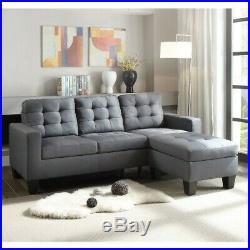 L-Shape Gray Linen Earsom Sectional Sofa Set reversible ottoman Transitional