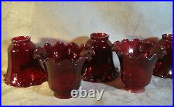 Lamp Shades Ruby Red Set of 5 Crimped Edge Optic Glass Vintage VG