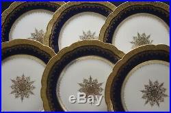 Limoges Antique Cobalt Heavy Gold Set Of 11 Dinner Plates National Art Assoc