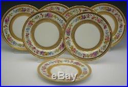 Limoges Ovington Bros Antique Set Of 7 Salad Plates Heavy Gold Flowers Antique