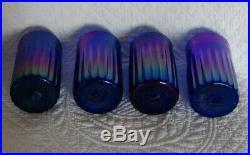Magic Sands Set 4 Studio Art Glass Tumblers Cobalt Blue Fluted Art Nouveau