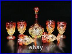 Magnificent (7) Piece Decanter Set by Baccarat, Rose Tiente Diamond and Swirl
