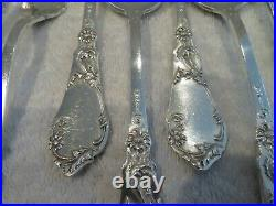 Magnificent french sterling silver 12p dinner cutlery set art nouveau thistles