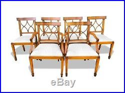 Magnificent set 6 Art deco style Bar back Yew Designer chairs, French polished