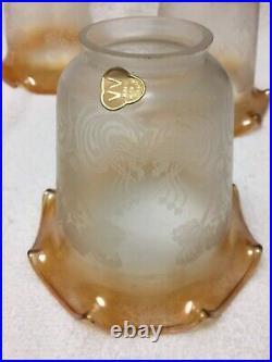 Matching set 5 Vianne France Art Nouveau Etched Satin Glass Lamp Shades 2 1/8