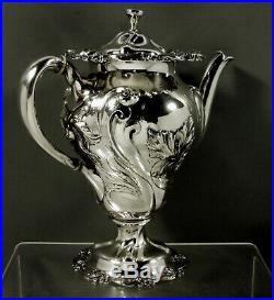 Mauser Sterling Silver Tea Set c1895 Art Nouveau Hammered