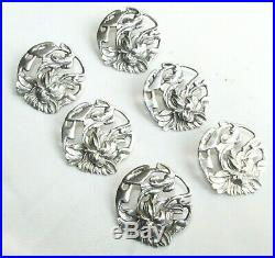Old antique Art Nouveau sterling silver set of 6 buttons Birmingham 1902