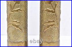 PAIR WW1 TRENCH ART SELL CASE VASE NOUVEAU FIRST WORLD WAR ONE set 2 flowers 11