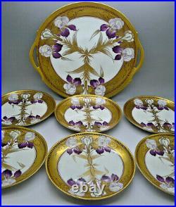 PICKARD & GDA LIMOGES HAND PAINTED ART NOUVEAU c. 1905 IRIS CAKE PLATE SET FUCHS