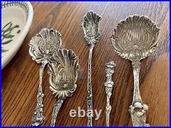 POPPY Set 5 Sterling Silver Figural Floral Spoons Paye Baker Art Nouveau NO MONO