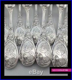 PUIFORCAT ANTIQUE FRENCH STERLING SILVER DINNER FLATWARE 12 pc Art Nouveau Iris