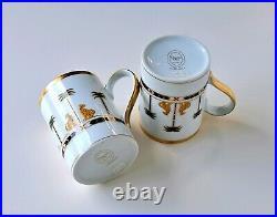 Pair of Christian Dior Casablanca Mug Cup, Fine China 24K Gold Trim Partial Set