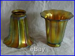 Pair of Gold Aurene Art Glass Shades Steuben or Quezal. 99 No Reserve Set 1`