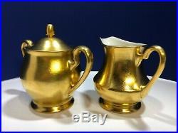 Pickard China Gold Encrusted Rose & Daisy Coffee Pot, Creamer, Sugar Bowl Set