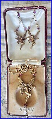Pididdly Links Sought After Art Nouveau Fairy Necklace Earring Set