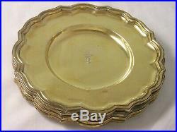 RARE SET 12 1914 Silver Gilt Dessert Plates Lambert 4141 gram Viscount Coronet G