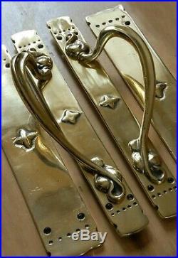RARE Set Antique Pull Door Handles with Push Plates Brass Art Nouveau HEAVY