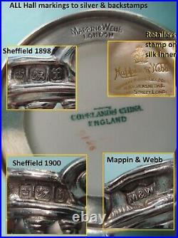 RARE Sterling silver Cherub Angel copeland spode demitase tea coffee cup set box