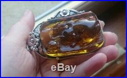 Rare Antique Georg Jenson Baltic Amber 1892 Silver Pendant 925 art nouveau set