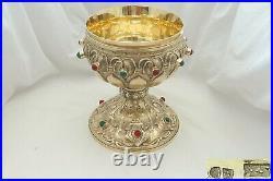 Rare Cast Art Nouveau Hm Sterling Silver Gilt Stone Set Chalice Cup