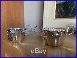 Rare Gorham MISTLETOE Sterling Silver Creamer Sugar Tea Set Art Nouveau Xmas