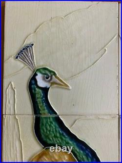Rare Peacock 10 pc set nouveau art majolica tile vintage Japan Ms Tile Antique