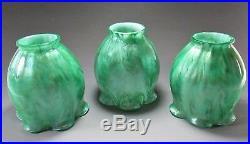 Rare Set Of 3 LOETZ Art Glass Lamp Shades TITANIA Décor circa. 1907 Tiffany Era