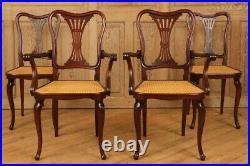 Rare Vintage Art Nouveau Thonet-stamped Dining Chair Set (2 arm, 2 side)