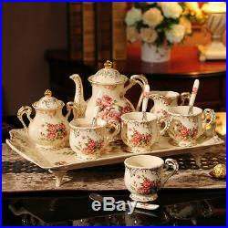 Rose Pattern Porcelain Tea Coffee Set Teapot Sugar Bowl Creamer Cups Tray 8 Pcs