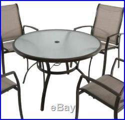 Round Table Patio Dining 48 Set Glass Outdoor Deck Garden Furniture Pool Yard