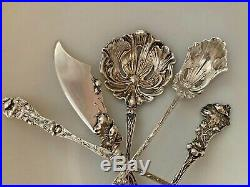 SET 5 Paye Baker POPPY Sterling Silver Figural Floral Spoon Fork Nouveau NO MONO