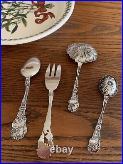 SET Sterling Silver DAISY Figural Floral Bon Nut spoon Fork Paye Baker Nouveau