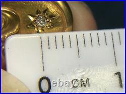 SG MERMAID 14k Yellow Gold Art Nouveau Carved Pendant w GYPSY-Set Diamond-K7L4J