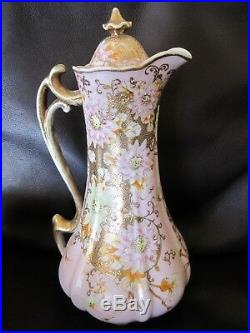 STUNNING 1900's HOT CHOCOLATE POT CUPS SET PORCELAIN HAND PAINTED PINK GOLD