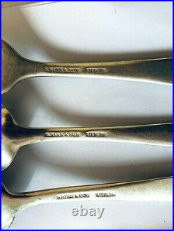 S Kirk 260 grams Stieff Repousse Sterling 5 Piece Place Setting No Mono 1924