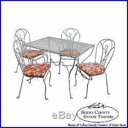 Salterini Art Nouveau Style Vintage Iron 5 Piece Patio Table & Chair Garden Set