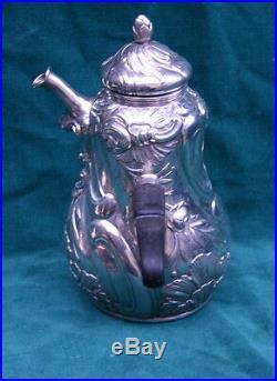 Schnauffer Art Nouveau German 800 3pcs. Silver Tea Set MAGNIFICENT