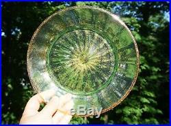 Set 12 Salviati Venetian Green Pink Glass Aventurine Gold Flecks Plates 8 1/4
