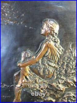 Set 2 Antique Art Nouveau Copper Bronze Woman Lady Girl Framed Art Wall Plaques