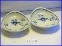 Set 2 Royal Copenhagen Blue Fluted Spoon Rests Oyster Form Dishes