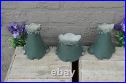 Set 3 Porcelain Jasperware Romantic putti art nouveau lady Vases centerpiece