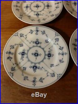 Set 4 OLD Side Plates BLUE FLUTED Plain # 1-181 Royal Copenhagen 15½ cm fact 1st
