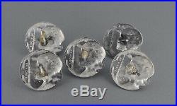 Set 5 Silver Enamel Art Nouveau Buttons KATE HARRIS William Hutton & Sons 1902