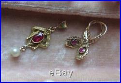 Set- Art Deco Earrings, Art Nouveau Pendant, Ruby Gold