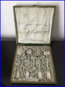 Set Hors uvre A. Fresnais 1900 Art Nouveau Décor IRIS Jugendstil Silver Plated
