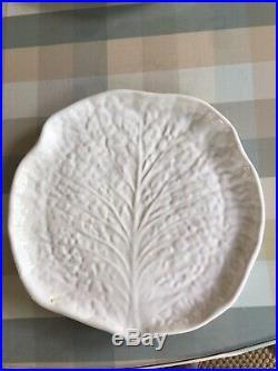 Set Italian White Majolica Lettuce Ware Dessert/Salad Plates & White Platter